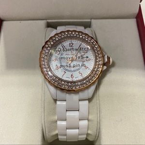 Peugeot Crystal-Accent Rose-Tone White Watch